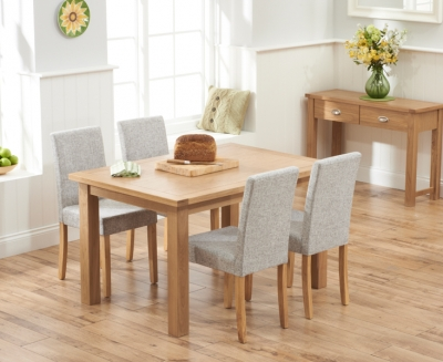 Mark Harris Sandringham Solid Oak 130cm Dining Table with 4 Maiya Grey Fabric Chairs