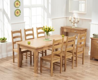 Mark Harris Sandringham Solid Oak 180cm Extending Dining Table with 6 Valencia Timber Seat Chairs