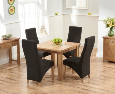 Mark Harris Sandringham Solid Oak 90cm Flip Top Extending Dining Set with 4 Harley Charcoal Fabric Dining Chairs