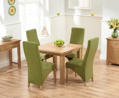 Mark Harris Sandringham Solid Oak 90cm Flip Top Extending Dining Set with 4 Harley Lime Fabric Dining Chairs