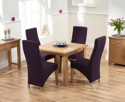 Mark Harris Sandringham Solid Oak 90cm Flip Top Extending Dining Table with 4 Harley Plum Fabric Chairs