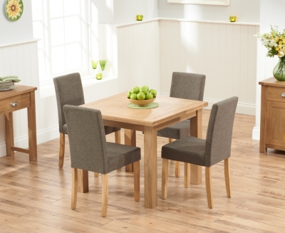 Mark Harris Sandringham Solid Oak 90cm Flip Top Extending Dining Set with 4 Maiya Brown Fabric Dining Chairs