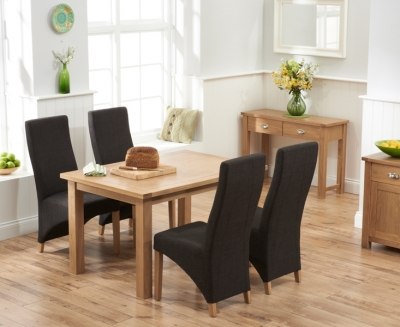 Mark Harris Sandringham Solid Oak Dining Set - 130cm with 4 Harley Charcoal Fabric Chairs