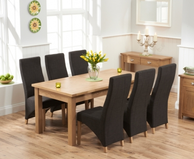 Mark Harris Sandringham Solid Oak  Dining Set - 180cm Extending with 6 Harley Charcoal Fabric Chairs