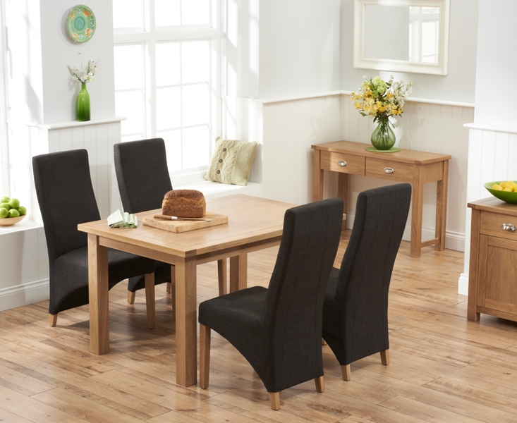 Mark Harris Sandringham Solid Oak 130cm Dining Table with 4 Harley Charcoal Fabric Chairs