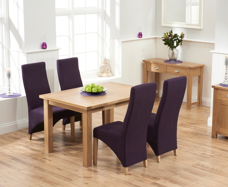 Mark Harris Sandringham Solid Oak 130cm Dining Table with 4 Harley Plum Fabric Chairs