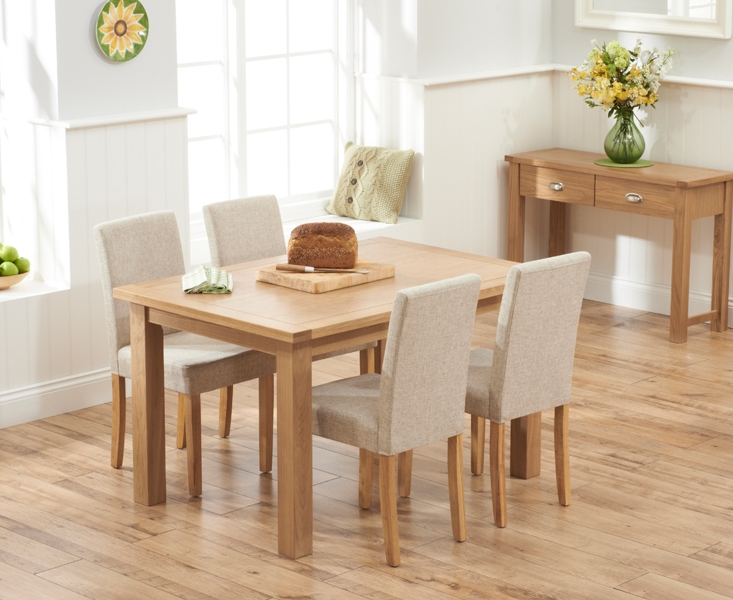 Mark Harris Sandringham Solid Oak 130cm Dining Table with 4 Maiya Cream Fabric Chairs
