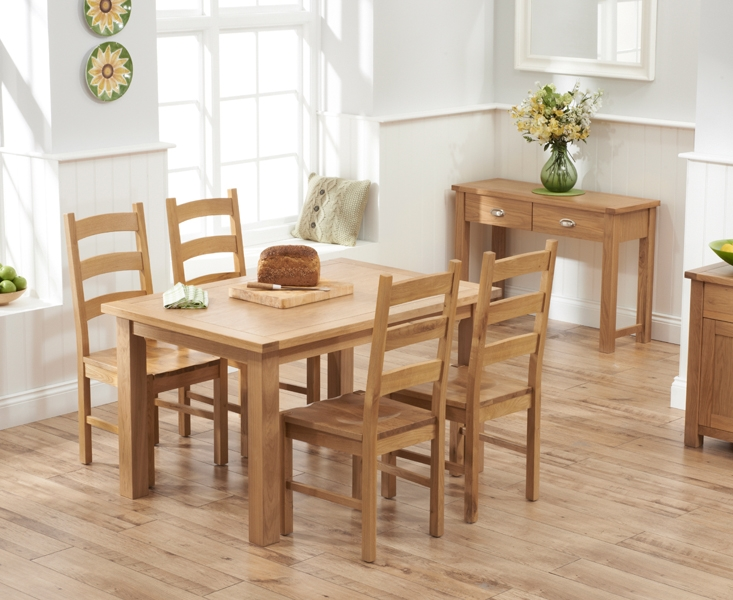 Mark Harris Sandringham Solid Oak 130cm Dining Table with 4 Valencia Timber Seat Chairs