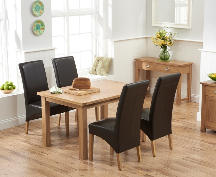Mark Harris Sandringham Solid Oak 130cm Dining Table with 4 Venice Brown Fuax Leather Chairs
