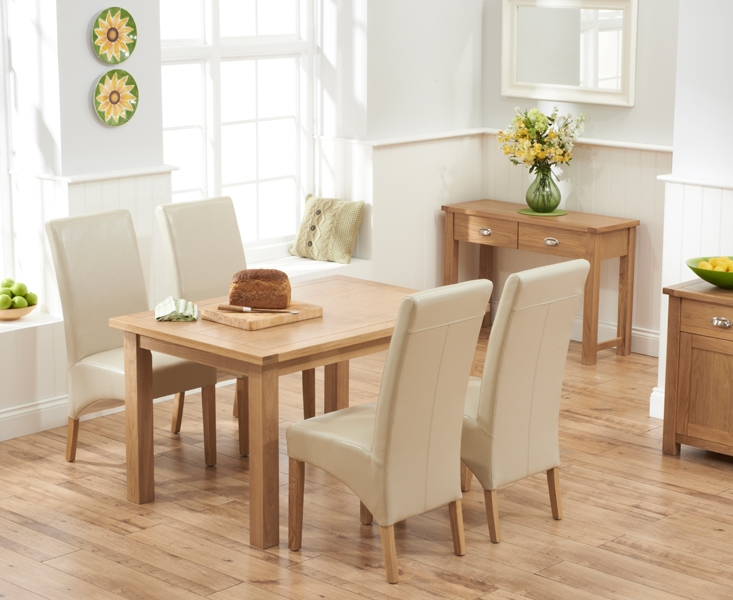 Mark Harris Sandringham Solid Oak 130cm Dining Table with 4 Venice Ivory Fuax Leather Chairs