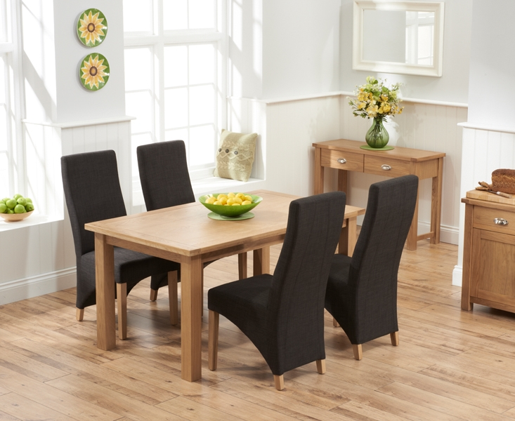 Mark Harris Sandringham Solid Oak 150cm Dining Table with 4 Harley Charcoal Fabric Chairs