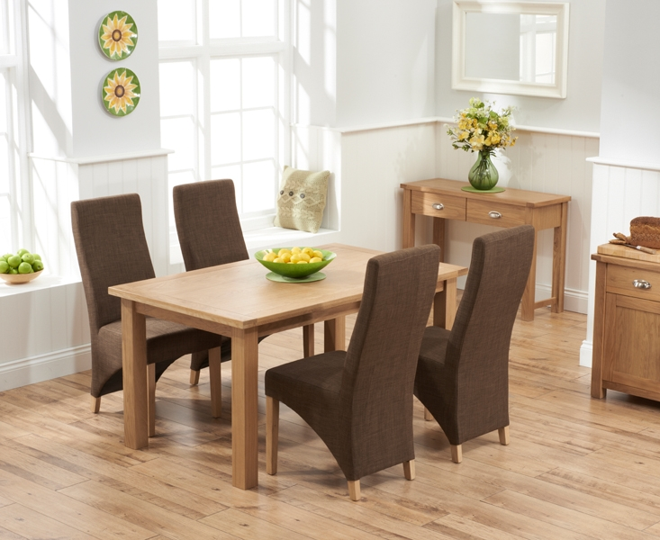 Mark Harris Sandringham Solid Oak 150cm Dining Table with 4 Harley Cinnamon Fabric Chairs