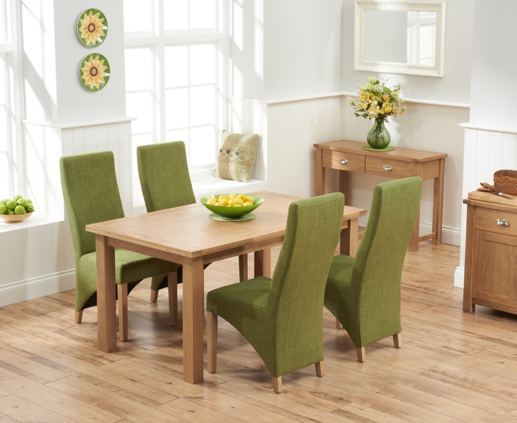 Mark Harris Sandringham Solid Oak 150cm Dining Set with 4 Harley Lime Fabric Dining Chairs