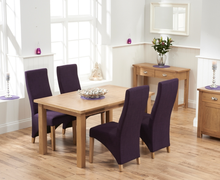 Mark Harris Sandringham Solid Oak 150cm Dining Set with 4 Harley Plum Fabric Dining Chairs