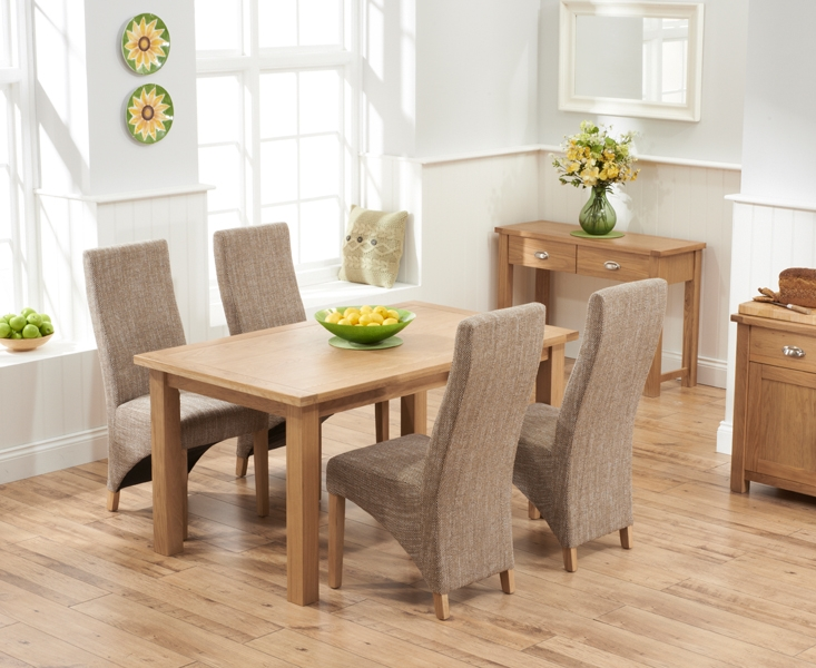 Mark Harris Sandringham Solid Oak 150cm Dining Table with 4 Harley Tweed Fabric Chairs