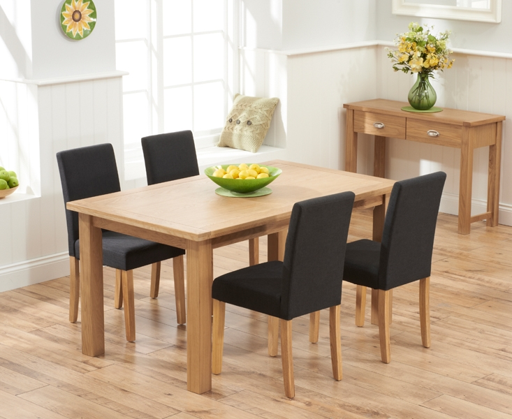 Mark Harris Sandringham Solid Oak 150cm Dining Table with 4 Maiya Black Fabric Chairs