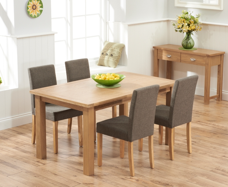 Mark Harris Sandringham Solid Oak 150cm Dining Set with 4 Maiya Brown Fabric Dining Chairs