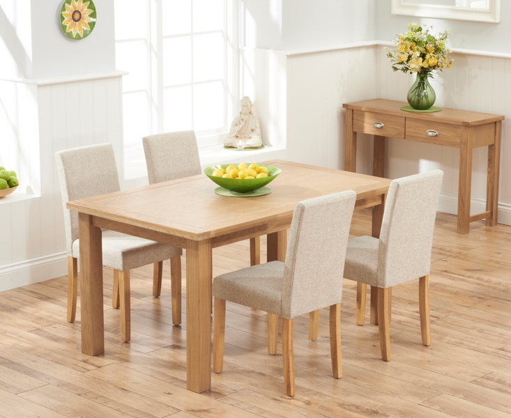 Mark Harris Sandringham Solid Oak 150cm Dining Table with 4 Maiya Cream Fabric Chairs