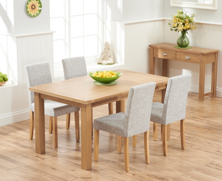 Mark Harris Sandringham Solid Oak 150cm Dining Set with 4 Maiya Grey Fabric Dining Chairs