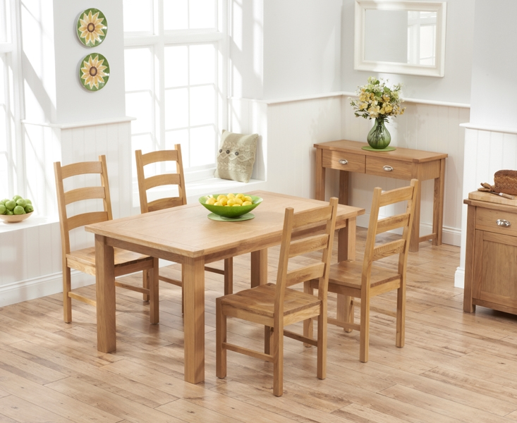 Mark Harris Sandringham Solid Oak 150cm Dining Table with 4 Valencia Timber Seat Chairs