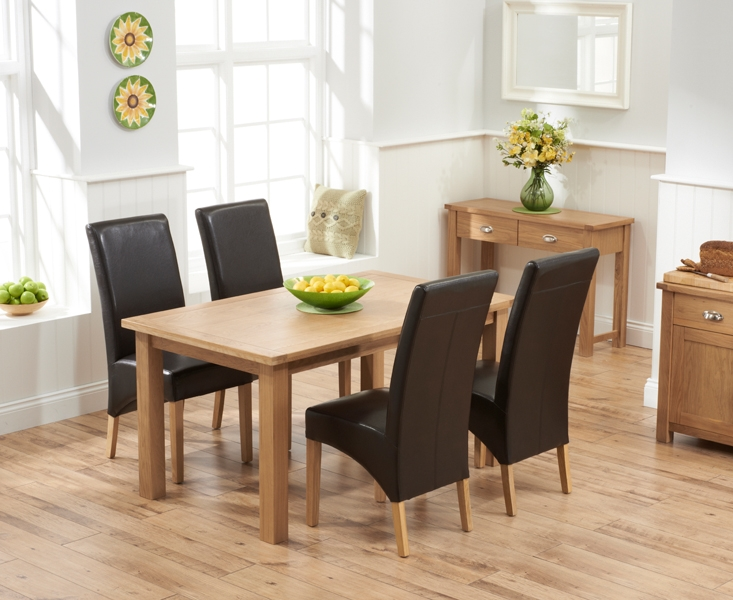 Mark Harris Sandringham Solid Oak 150cm Dining Table with 4 Venice Brown Fuax Leather Chairs