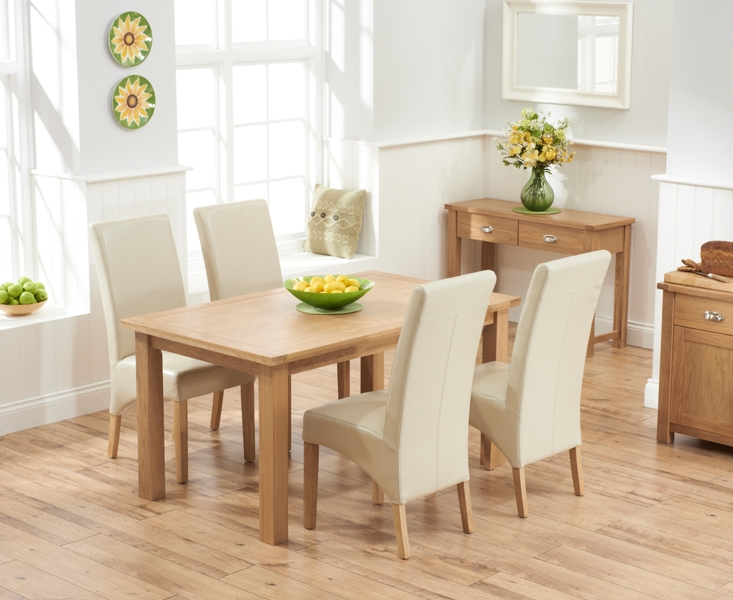Mark Harris Sandringham Solid Oak 150cm Dining Table with 4 Venice Ivory Fuax Leather Chairs