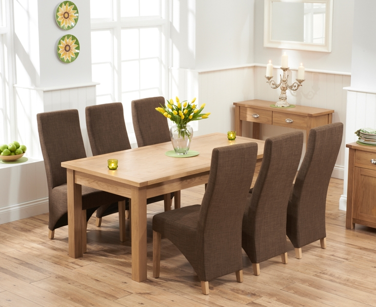 Mark Harris Sandringham Solid Oak 180cm Extending Dining Set with 6 Harley Cinnamon Fabric Dining Chairs