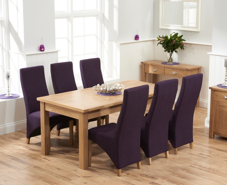 Mark Harris Sandringham Solid Oak 180cm Extending Dining Table with 6 Harley Plum Fabric Chairs