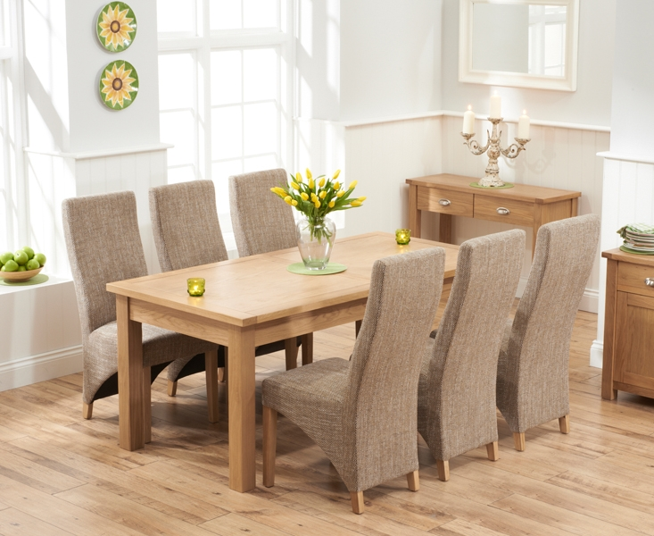 Mark Harris Sandringham Solid Oak 180cm Extending Dining Table with 6 Harley Tweed Fabric Chairs
