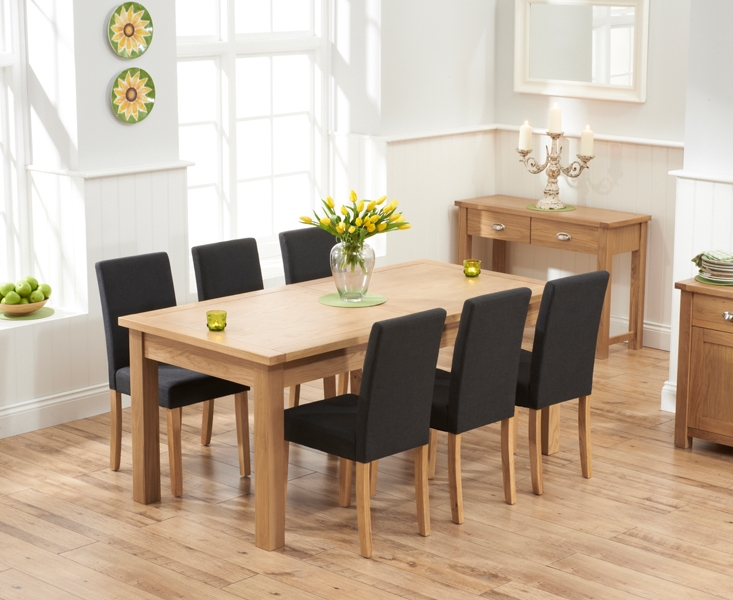 Mark Harris Sandringham Solid Oak 180cm Extending Dining Set with 6 Maiya Black Fabric Dining Chairs
