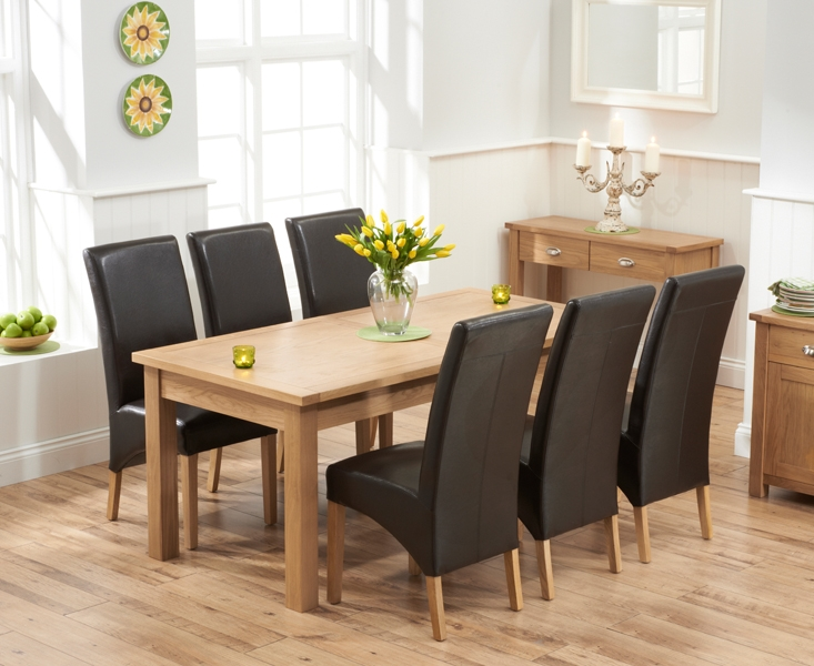 Mark Harris Sandringham Solid Oak 180cm Extending Dining Set with 6 Venice Brown Faux Leather Dining Chairs