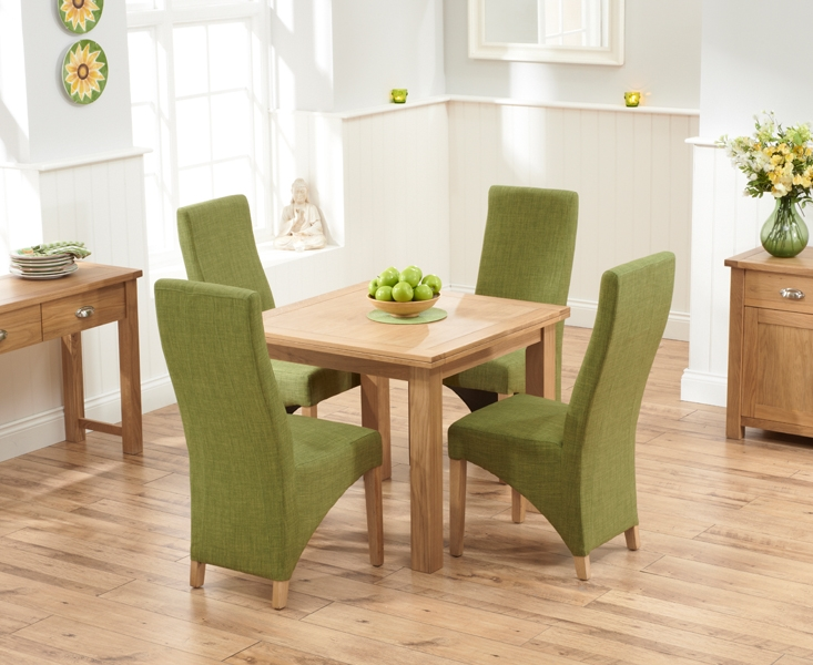 Mark Harris Sandringham Solid Oak 90cm Flip Top Extending Dining Table with 4 Harley Lime Fabric Chairs