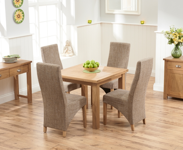 Mark Harris Sandringham Solid Oak 90cm Flip Top Extending Dining Table with 4 Harley Tweed Fabric Chairs