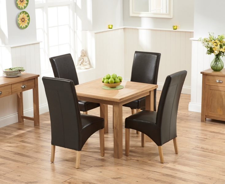 Mark Harris Sandringham Solid Oak 90cm Flip Top Extending Dining Set with 4 Venice Brown Faux Leather Dining Chairs