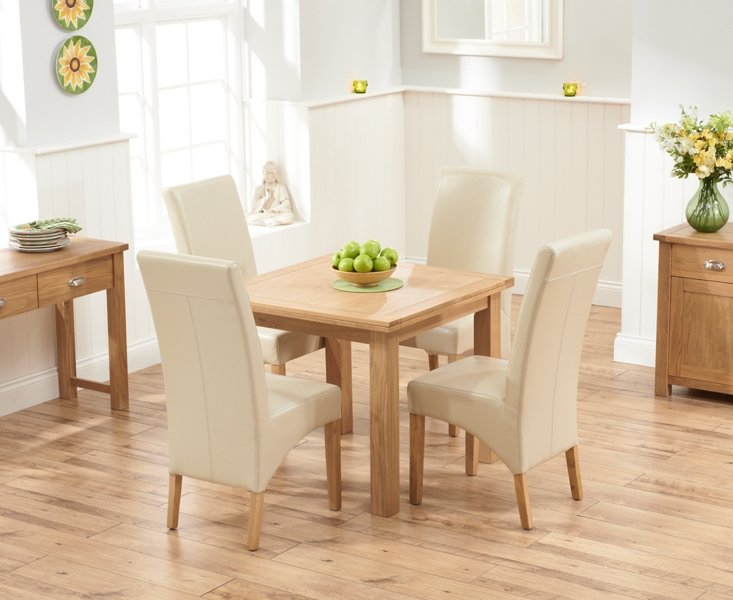 buy mark harris sandringham solid oak 90cm flip top extending dining table with 4 venice ivory. Black Bedroom Furniture Sets. Home Design Ideas