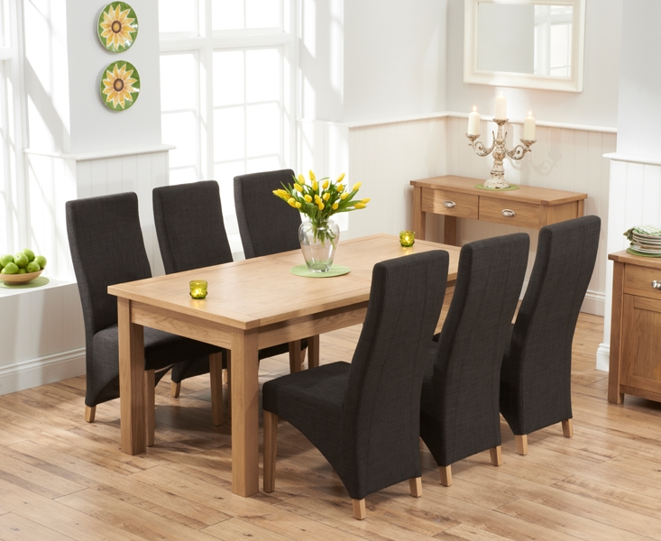 Mark Harris Sandringham Solid Oak Dining Set - 180cm Rectangular Extending with 6 Harley Charcoal Fabric Chairs