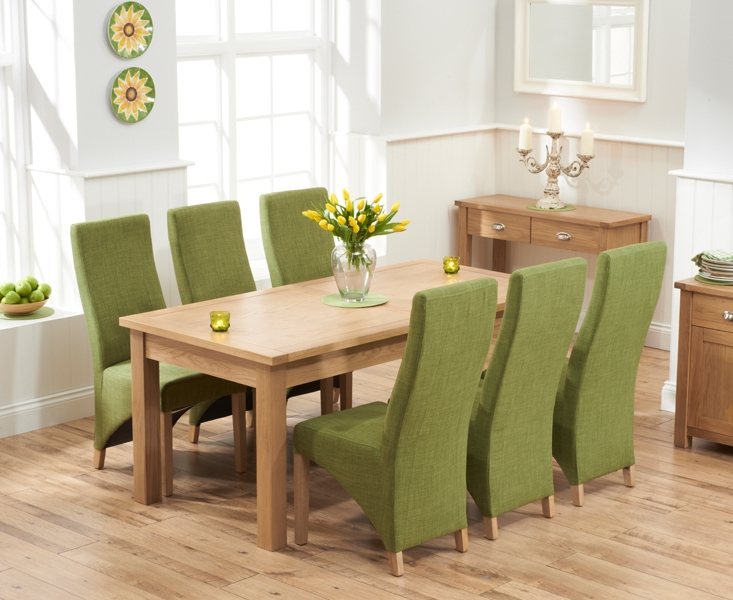Mark Harris Sandringham Solid Oak  Dining Set - 180cm Extending with 6 Harley Lime Fabric Chairs
