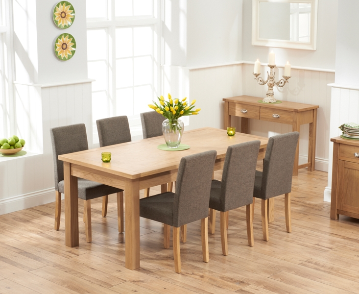 Mark Harris Sandringham Solid Oak  Dining Set - 180cm Extending with 6 Maiya Brown Fabric Chairs