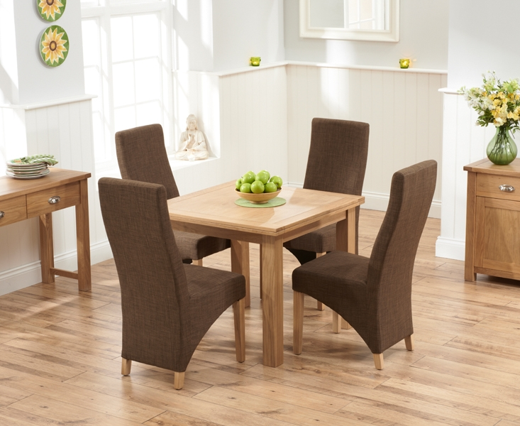Mark Harris Sandringham Solid Oak Dining Set - 90cm Flip Top Extending with 4 Harley Cinnamon Fabric Chairs