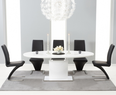 Mark Harris Seville White High Gloss Butterfly Extending Dining Table and 6 Hereford Black Chairs