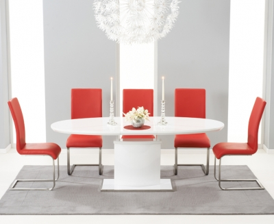 Mark Harris Seville White High Gloss Butterfly Extending Dining Table and 6 Malibu Red Chairs