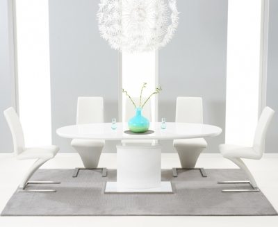 Mark Harris Seville White High Gloss Butterfly Extending Dining Table and 6 Hereford White Chairs