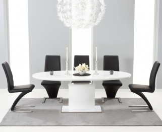 Mark Harris Seville White High Gloss Extending Dining Set with 6 Black Hereford Dining Chairs