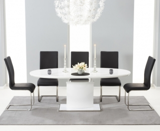 Mark Harris Seville White High Gloss Extending Dining Set with 6 Black Malibu Dining Chairs