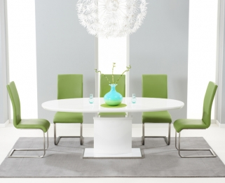 Mark Harris Seville White High Gloss Extending Dining Set with 6 Green Malibu Dining Chairs
