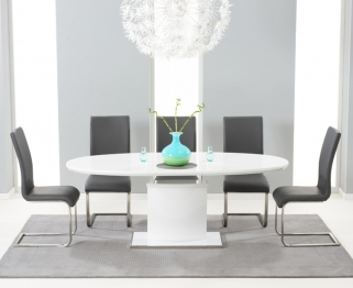 Mark Harris Seville White High Gloss Extending Dining Set - with 6 Grey Malibu Chairs