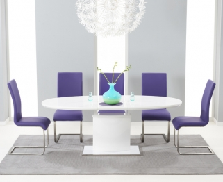 Mark Harris Seville White High Gloss Extending Dining Set with 6 Purple Malibu Dining Chairs