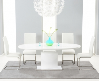 Mark Harris Seville White High Gloss Extending Dining Set with 6 White Malibu Dining Chairs