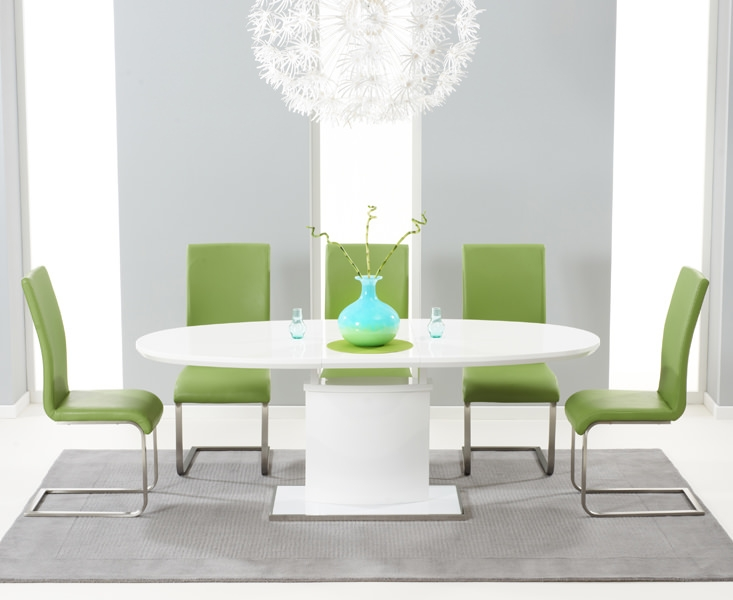 Mark Harris Seville White High Gloss Extending Dining Set - with 6 Green Malibu Chairs