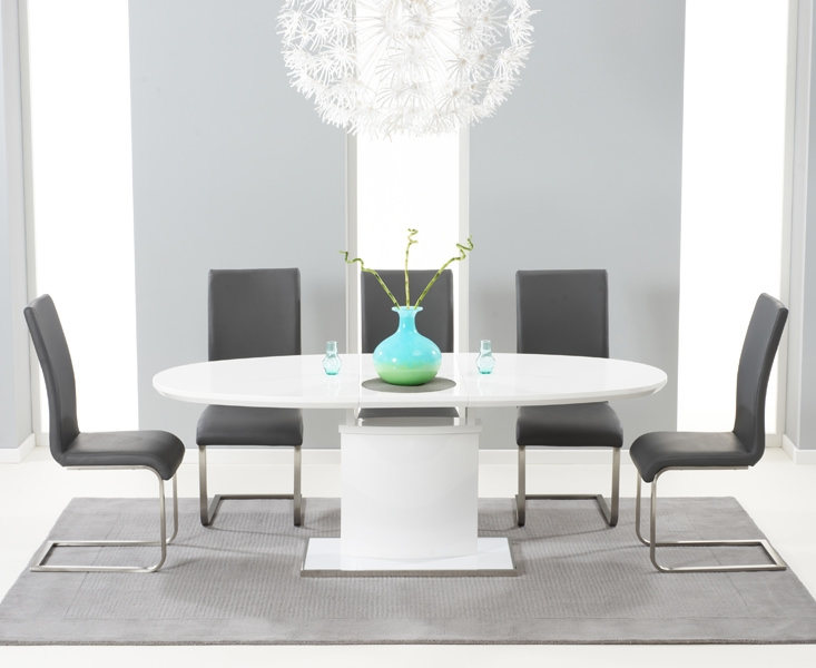 Mark Harris Seville White High Gloss Extending Dining Set with 6 Grey Malibu Dining Chairs